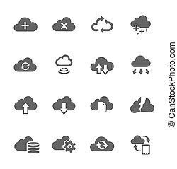 simple, icono, conjunto, relacionado, a, informática, nube