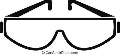 simple, icono, estilo, anteojos, seguridad