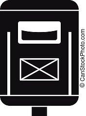 simple, icono, estilo, buzón, newsletter