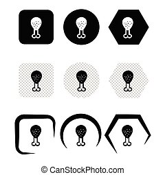 simple, icono, pata de pollo, señal, diseño, pollo