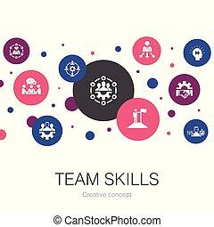 simple, icons., équipe, éléments, collaboration, coopération, collaboration, gabarit, branché, techniques, contient, tel, cercle