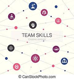 simple, icons., équipe, éléments, collaboration, coopération, collaboration, gabarit, toile, branché, techniques, contient, tel