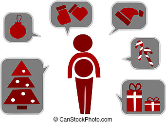 Simple icons for christmas time - vector illustration