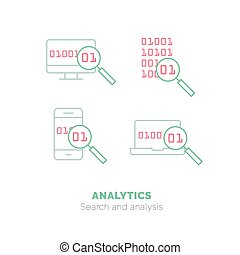 Simple icons set of Analytics flat vector thin line design concept