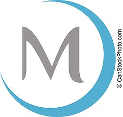 Simple, illustration round letter M vector on the white background