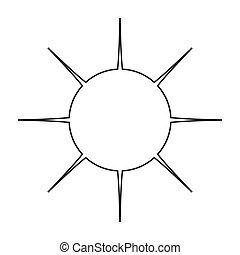 simple, illustration, sans, vecteur, sun., graphiques, pouring., icône