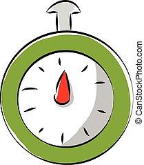 simple, illustration, vecteur, arrière-plan vert, chronomètre, blanc
