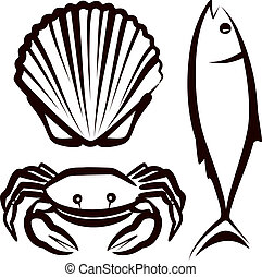 simple illustration with seafood