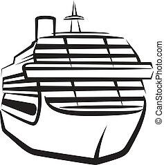 simple, ilustración, con, un, barco