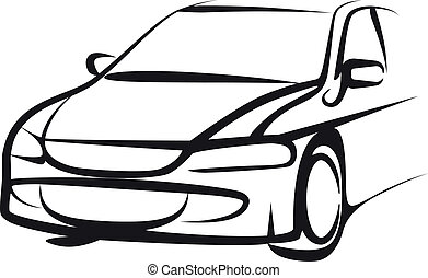 simple, ilustración, con, un, coche