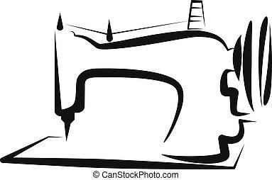 simple, ilustración, con, un, sewing-machine