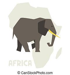 simple, ilustración, de, elefante, fondo, áfrica, map.