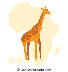 simple, ilustración, de, jirafa, fondo, áfrica, map.