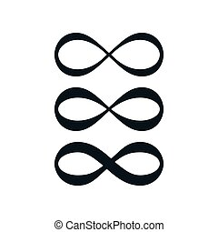 Simple infinity symbol set on white background.