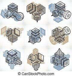 simple, ingénierie, formes, géométrique, vectors, set., ...