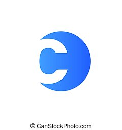 initial letter c circle logo blue black - simple initial...