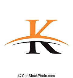 initial letter K logo with swoosh orange black - simple...