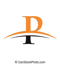 initial letter P logo with swoosh orange black - simple...