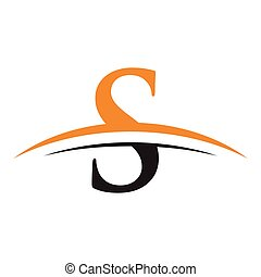 initial letter S logo with swoosh orange black - simple...