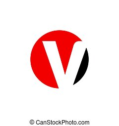 initial letter v circle logo red black - simple initial...