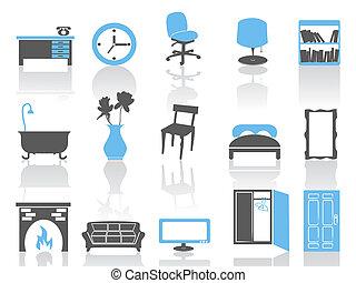 simple interior furniture icons set,blue series
