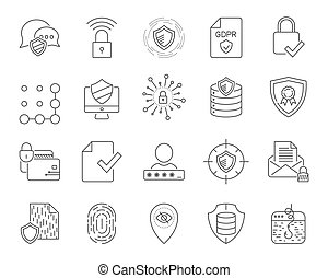 Simple internet technology icons set. Universal internet and SEO icons to use in web and mobile UI, set of basic UI internet elements.
