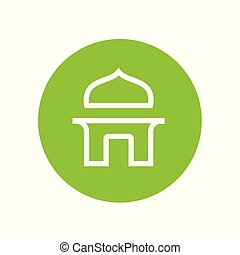 Simple islamic mosque logo icon, vector line art style, green mosque sign
