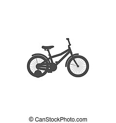 Simple isolated bicycle icon of little children on a white background.