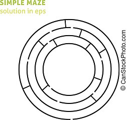 Simple isolated round maze with solution in eps