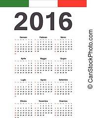 Simple Italian 2016 year vector calendar. Week starts from Sunday.