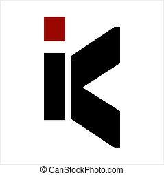 K, IK, KI initials geometric letter company logo - simple K,...