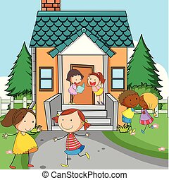 Simple kids infront of house