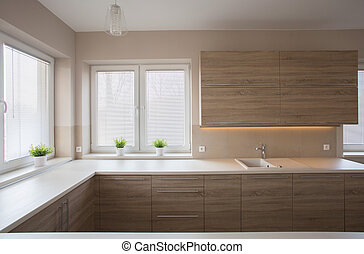Simple kitchen with wooden furniture - Simple modern...
