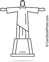 simple, línea fina, estatua, de, cristo redentor, logotipo