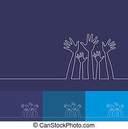 simple, línea, ilustración, de, hands.