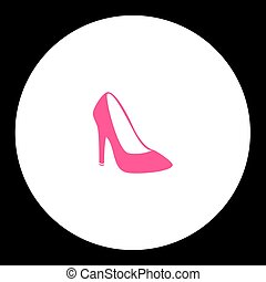 simple lady court shoe isolated pink icon eps10
