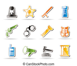 Simple law, order, police and crime icons - vector icon set
