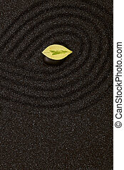 Leaf in the black zen sand with relaxing wave lines