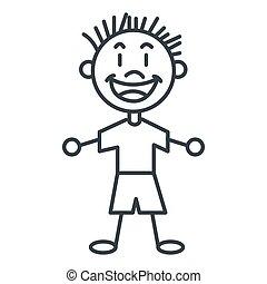 stick figure boy icon - simple line design stick figure boy...