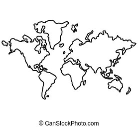 Simple flat design world map with distinction between land clip world map with distinction between land and sea icon simple line design gumiabroncs Images