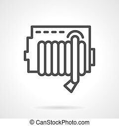 Simple line fire hose reel vector icon.