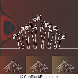 Simple line illustration of hands.