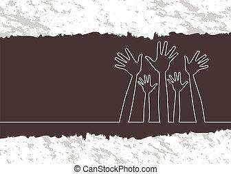 Simple line illustration of hands.