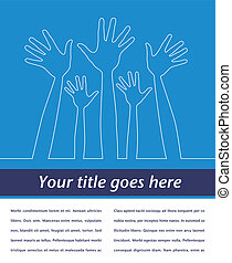 Simple line illustration of hands with copy space vector.