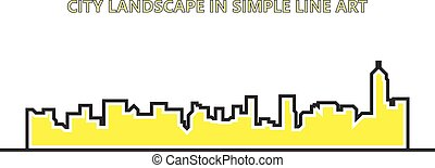 Simple line of city landscapes with yellow color in vector illustration on white background
