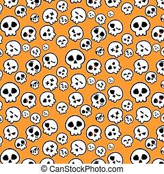 Simple line of Halloween Skeleton head icon pattern in variety emotion on Orange background for illustrator vector design concept