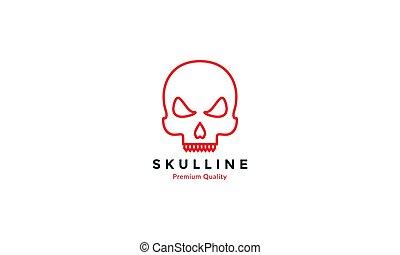 simple line skull head red modern logo vector icon design illustration