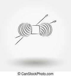 Skein of yarn for knitting and needles.