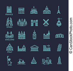 Simple linear Vector icon set representing global tourist...