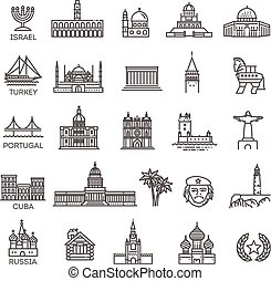 Simple linear Vector icon set representing global tourist ...